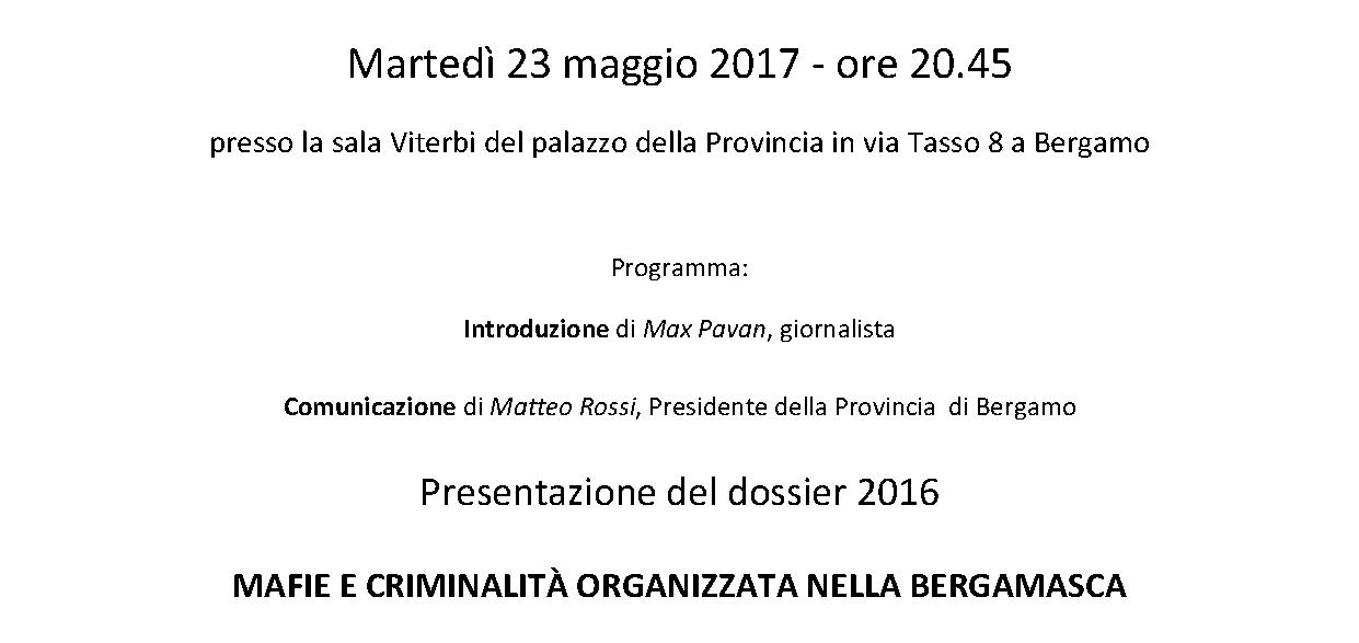 23 maggio 2017 – Presentazione dossier 2016