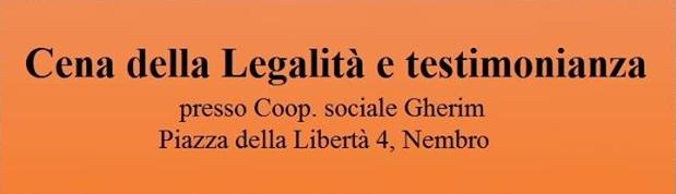 Cena della Legalità e testimonianza – 9 febbraio 2020
