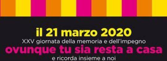 XXV giornata della memoria e dell'impegno – 21 marzo 2020